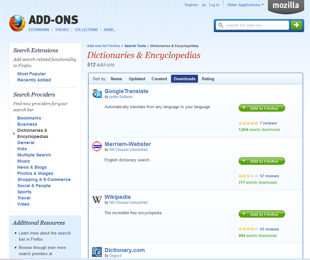 Dictionary add-ons for Web browsers (Mozilla Firefox) - Tips